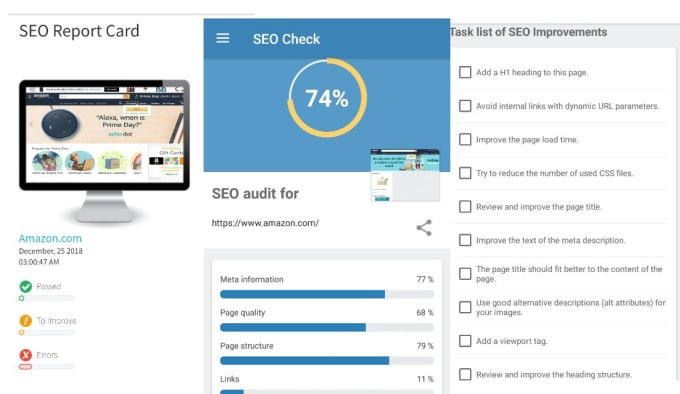 generate SEO audit report,  action plan,  implementation strategy in any language
