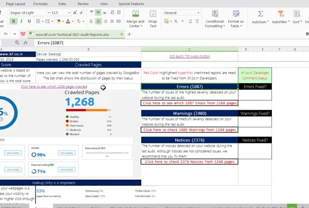 do website technical SEO analysis audit google penalty fix