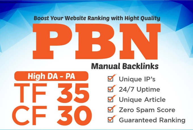 make 5 high trust flow pbn backlinks