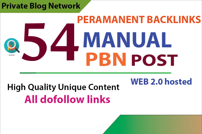 create 54 pbn post in high quality unique sites manually