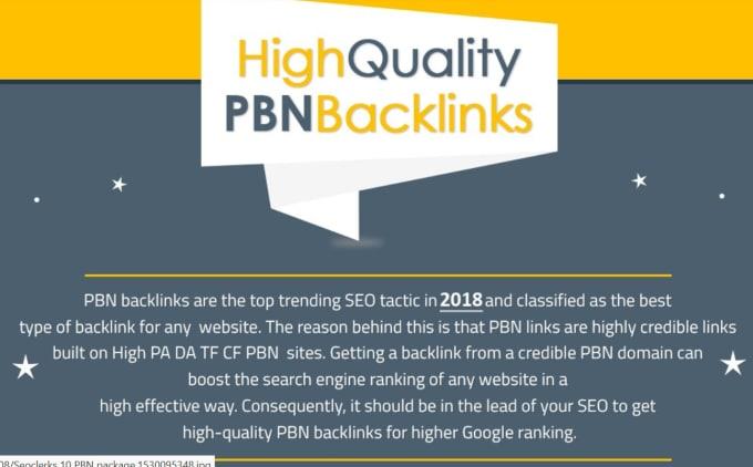 build 10 high PR pa da tf cf 40 plus to 15 pbn backlinks
