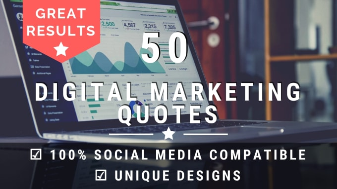 design 50 digital marketing quotes with your logo