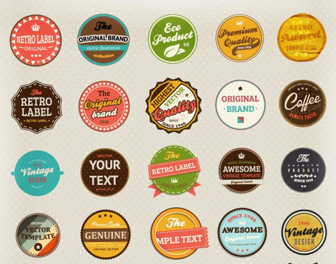do high quality sticker design, label, badges, retro,  vintage