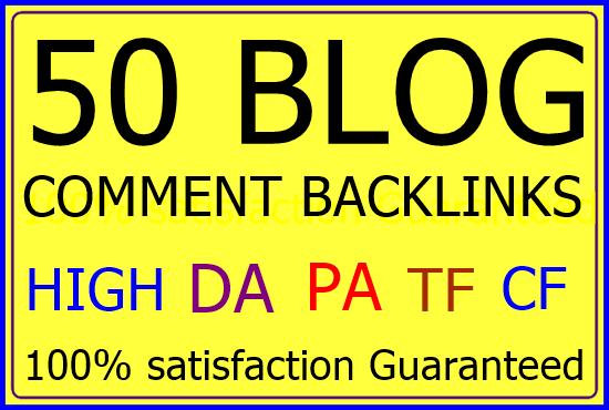 Make 50 Blog comments Backlinks manually