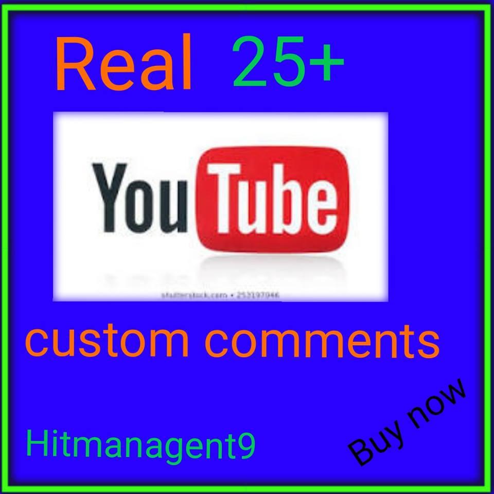 Guaranteed 25+ YT Custotom cmnt Non Drop