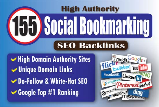 155 High Authority Social Bookmarking SEO Backlinks to Rank Your Website Google 1