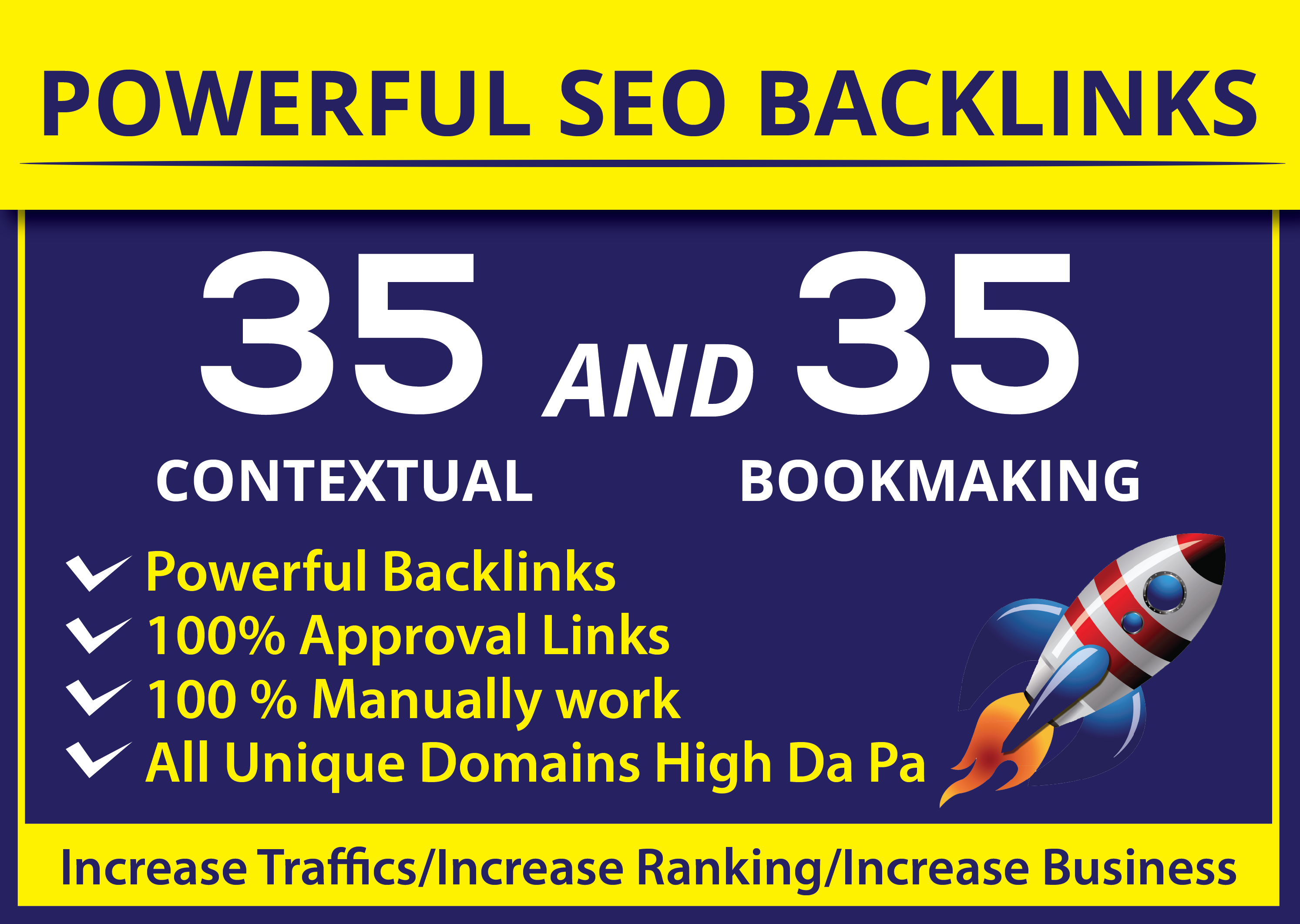 Build Seo Backlinks 35 Contextual + 35 SOCIAL Bookmaking Unique Domain High DA PA