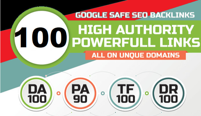 100 unique domain SEO backlinks on tf100 da100 sites