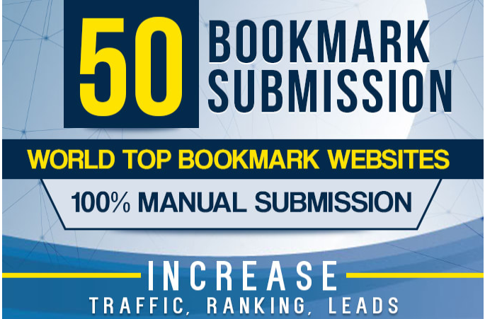 manually 50 bookmark submission backlinks,  high pa da cf tf for promotion