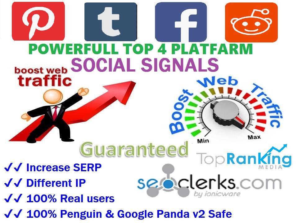 Powerfull Top 4 Platform 14,052 Reddit / Tumblr / Pinterest / Webshare /SEO / Mixed / Social Signals / Backlinks / Bookmarks / Traffic / Important Ranking