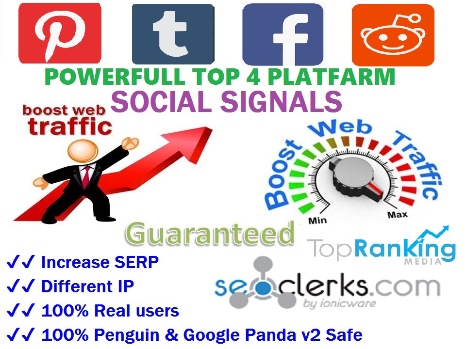 Powerfull Top 4 Platform 15900 SEO / Mixed / Social Signals / Backlinks / Bookmarks / Traffic / Important Ranking