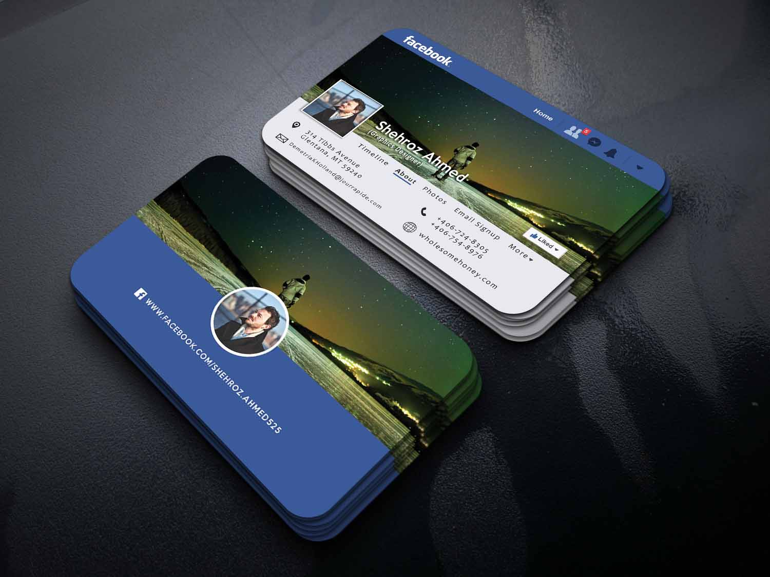 Design Facebook Page Into Business Card With 3d Mocku...