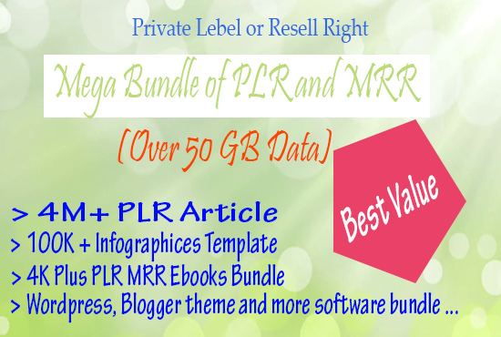 Give You Mega PLR MRR Bundle for your work or Business
