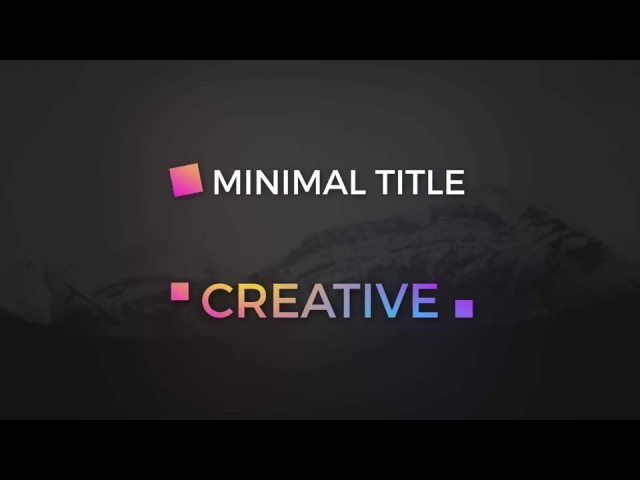 Create awesome Minimal Titles for videos