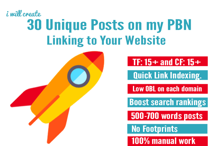 create 30 unique posts on my pbn linking to your website