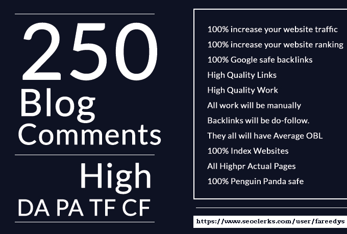 Manually 250 High Da Pa Dofollow Blog Comment Backlinks