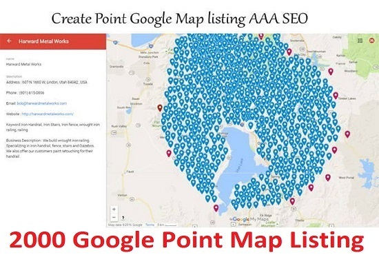 create 100 Google Point Map citations For Local Business optimizations