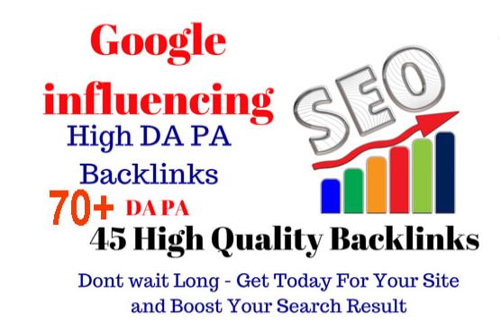 Google influences 45 backlinks on 70 to 100 websites