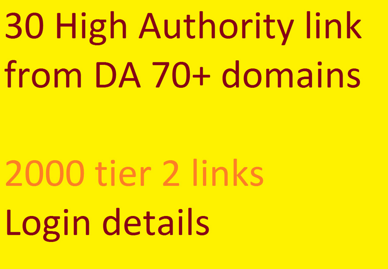 30 high authority links,  da 70 to 99,  quality seo backlinks