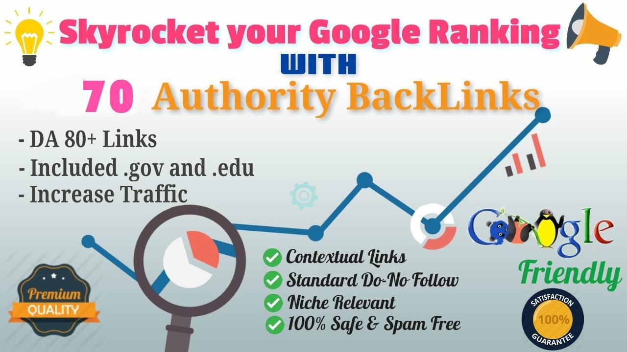 Permanent Offer 70 Backlinks from High DA80+ Domains-Skyrocket your Google RANKINGS