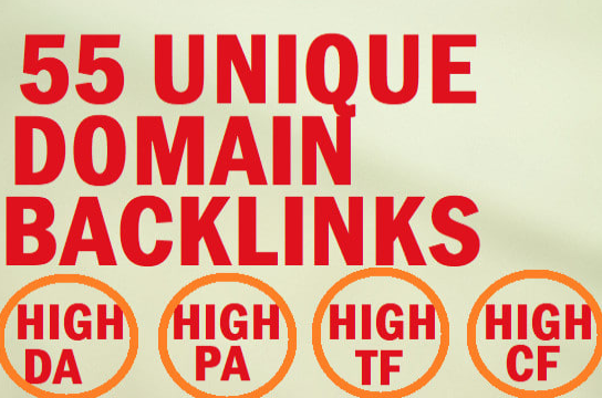 55 unique domain SEO backlinks on high tf da sites