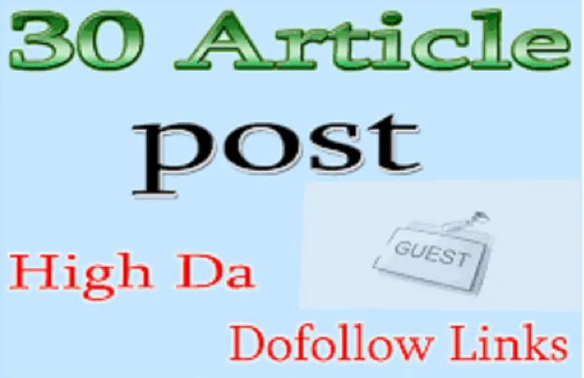 do 30 article submission SEO backlinks do follow on unique domain