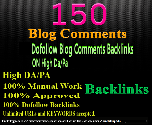 create 150 manual dofollow blog comment backlink high DA PA