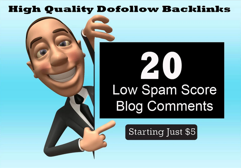 20 low spam score blog comments backlinks