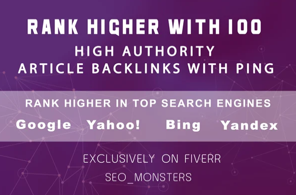 provide 100 article high authority backlinks with ping