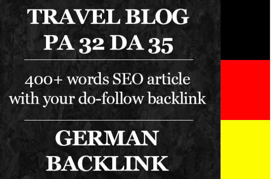 write a german article on my da35 pa32 travel blog with backlink
