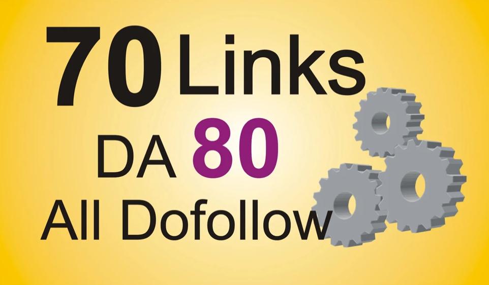 add 70 link building backlinks da 80