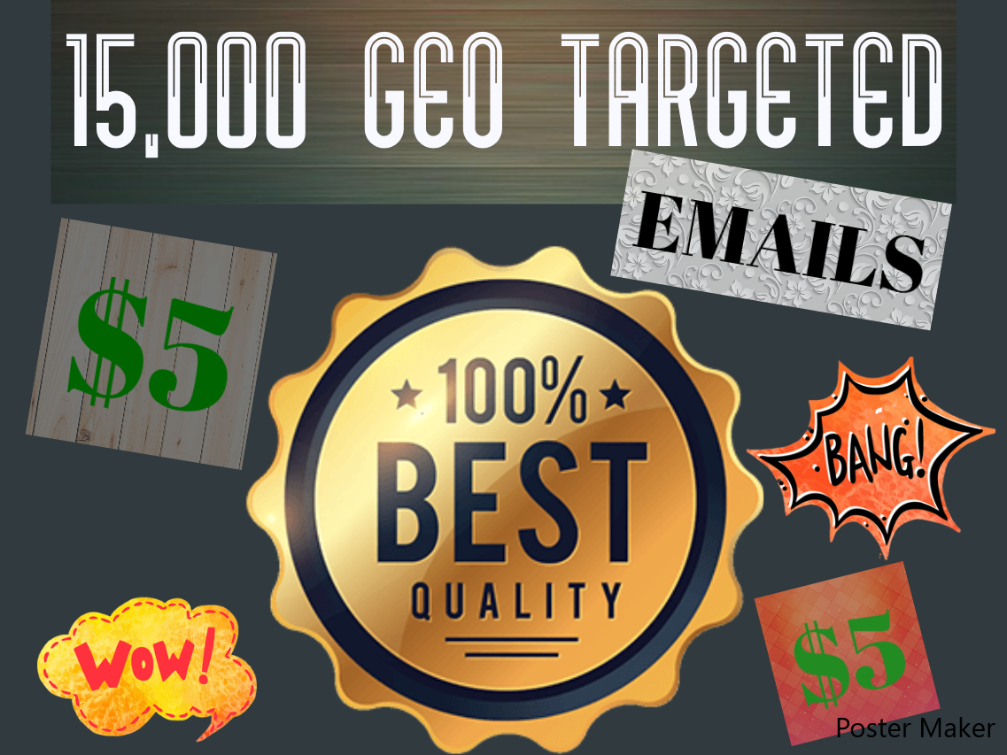 15,000 Geo & Keyword Targeted Emails