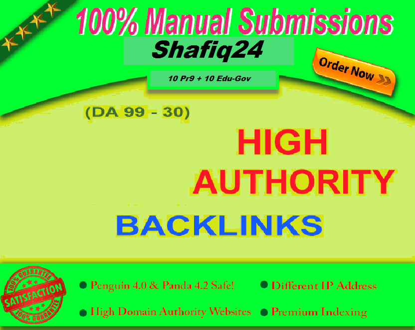 10+ PR9 Authority Profile Backlinks DA 100-90.