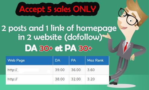 2 Dofollow backlinks in 2 website HOMEPAGE DA & PA +30