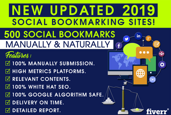 Manual 500 Bookmark Submission Backlinks, High Pa Da Cf Tf