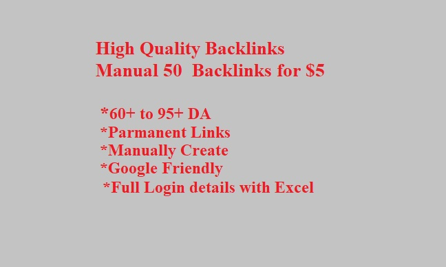 Manual High Quality Backlinks- Link building Expert