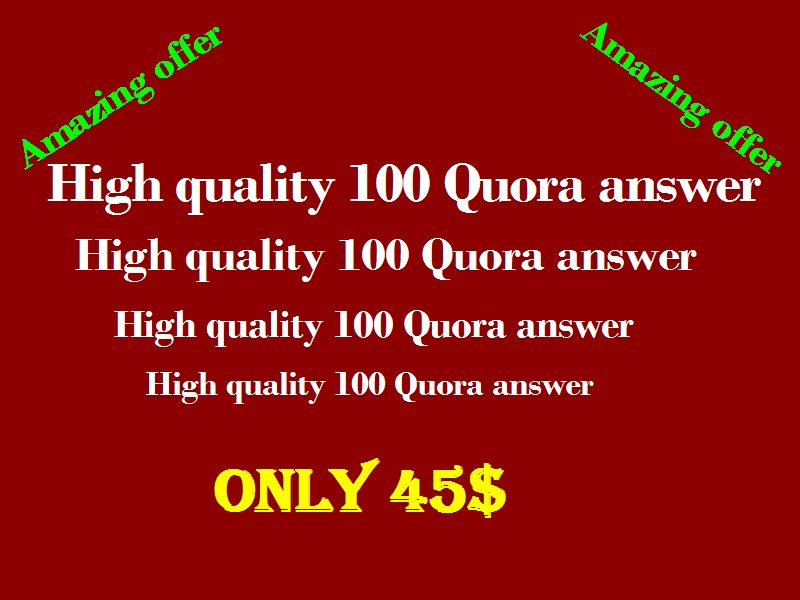 Promote website with High quality 100 Quora answer