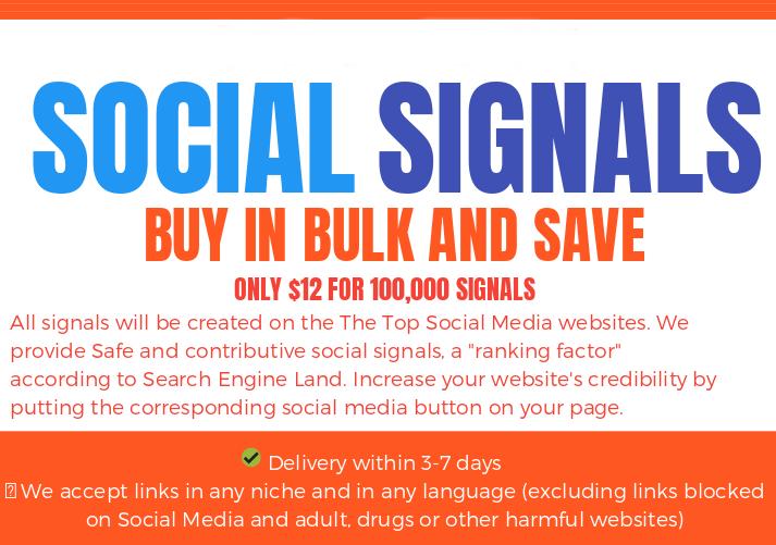 BLACK FRIDAY SALE - 300.000 SOCIAL SIGNALS