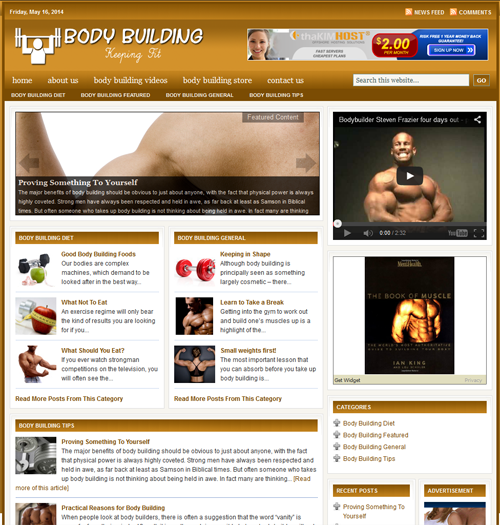 Fully Automated Wordpress Body Building Website - 100 Autopilot - SEO Ready Website