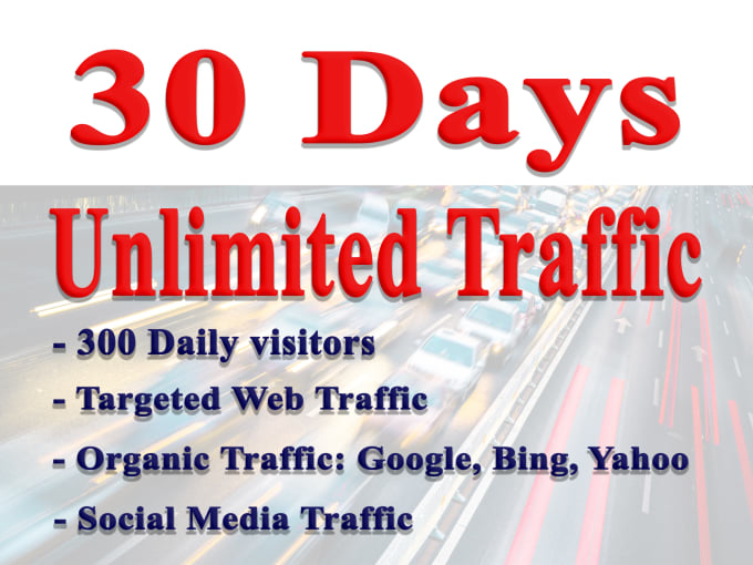 UNLIMITED Organic & Social Web Traffic for 30 days