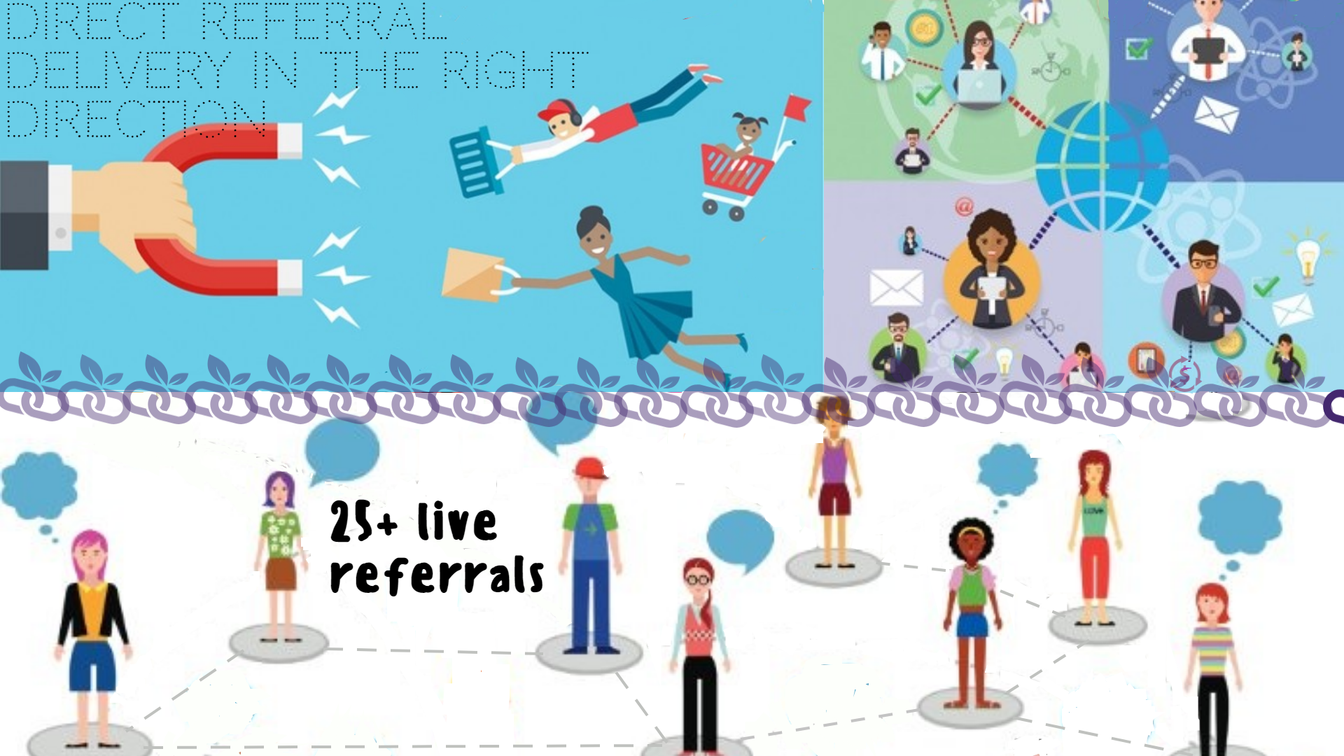 25+ live referrals from different places.