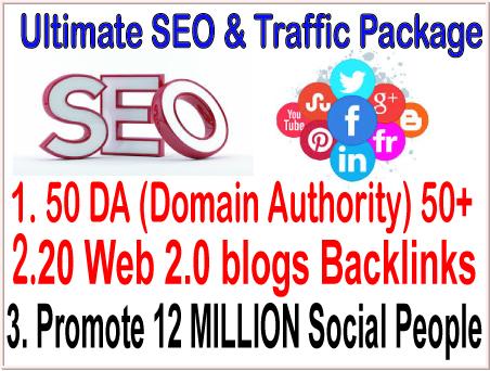 SEO Rank campaigns- 50 DA Domain Authority 50- 20 Web 2.0 blogs-Promote 12 million social members