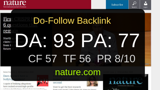 I can write and publish with Do-Follow backlinks on nature. com