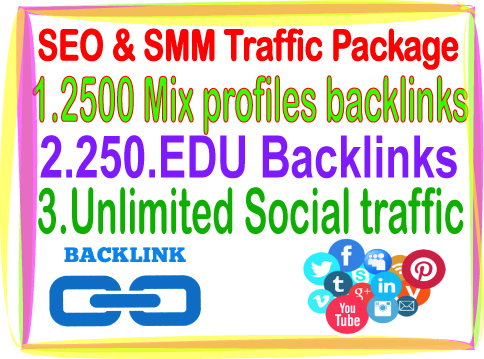 SEO & SMM Top Campaign - 2500 Mix profiles backlinks- Unlimited social traffic-250 edu Backlinks