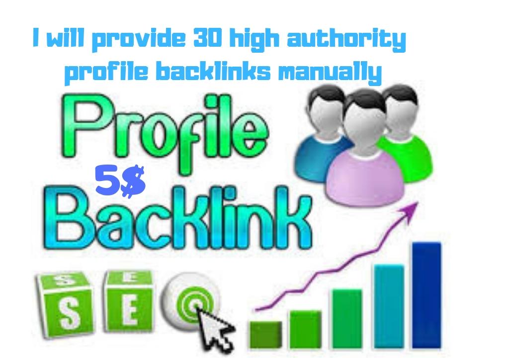 I Provide 30 High Authority Profile Back links Manually