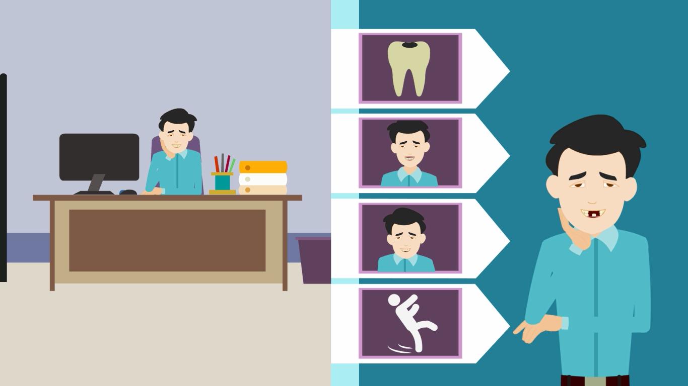 I do dentist 2d dental explanatory animator video video pain