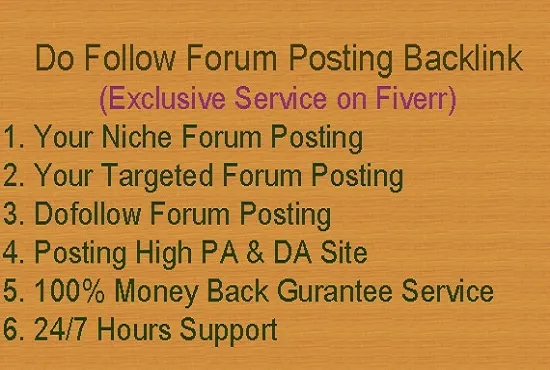High Quality 20 Forum Posting dofollow Backlinks