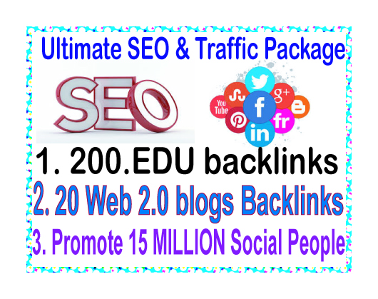 SEO & Social Traffic- Promote 15 Million Social people-200. Edu backlinks-20 Web.20