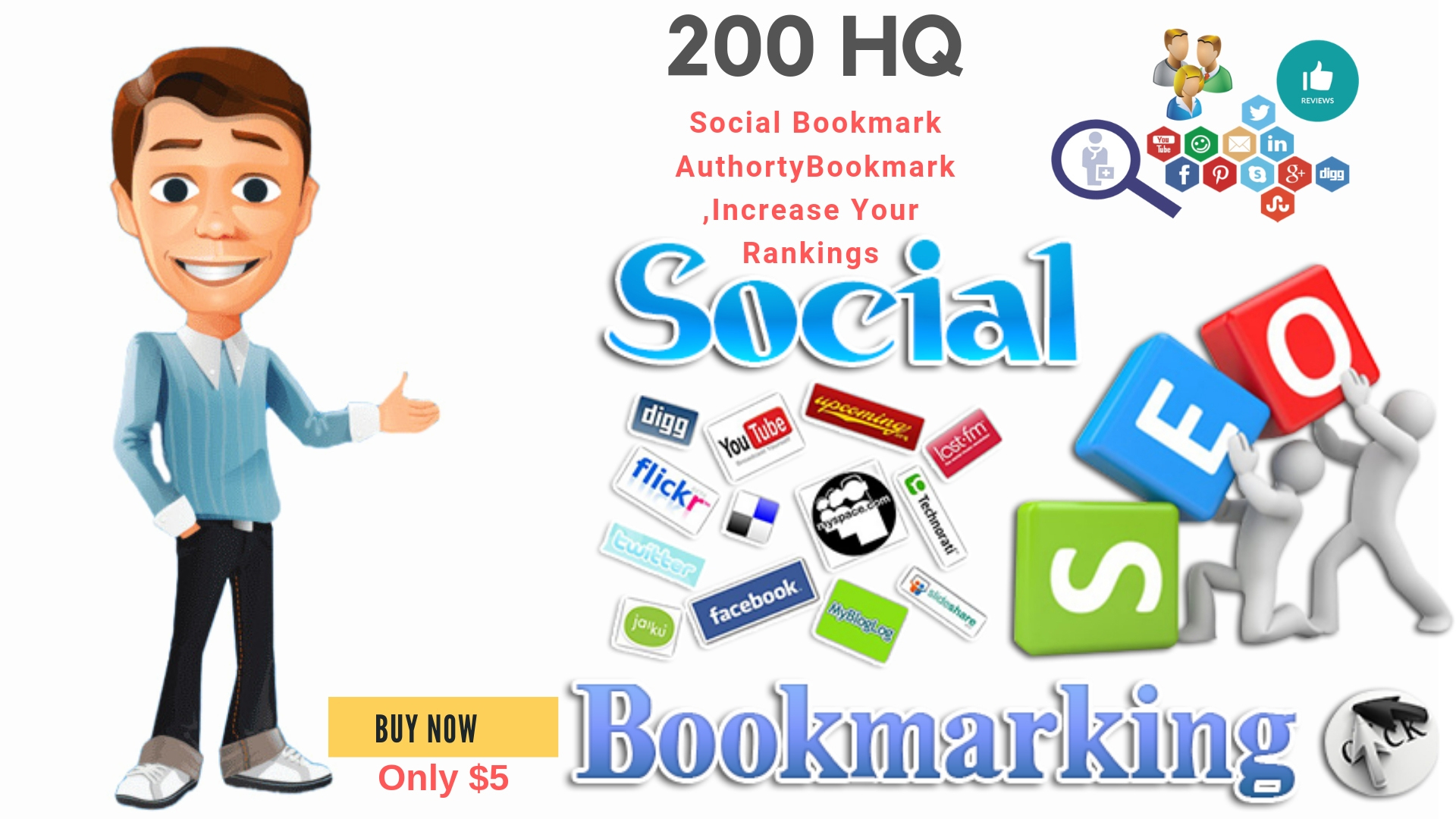create 50 High DA90 Social Bookmarking manuallay