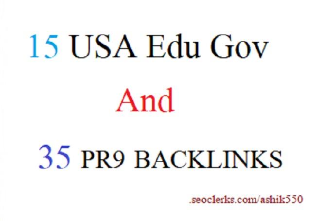 15USA EDU GOV 35 PR9 SEO Backlinks for your websites